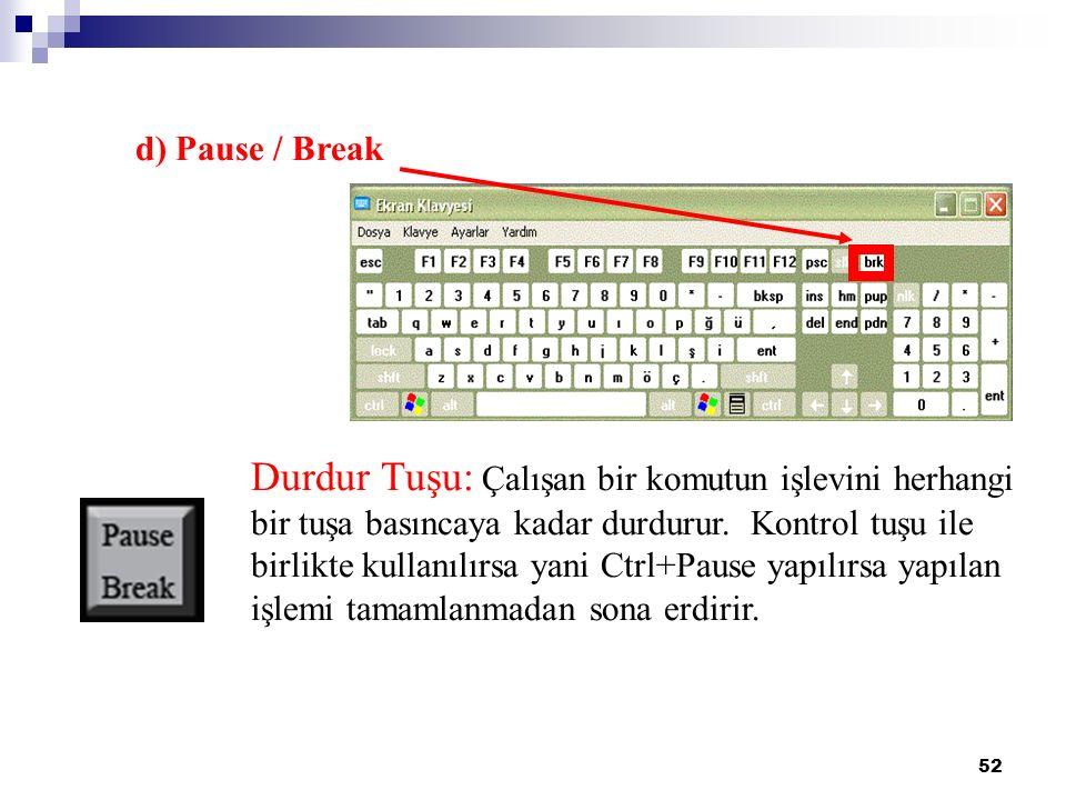 52 d) Pause / Break Durdur Tuşu: Çalışan bir komutun işlevini herhangi bir tuşa basıncaya kadar durdurur. Kontrol tuşu ile birlikte kullanılırsa yani