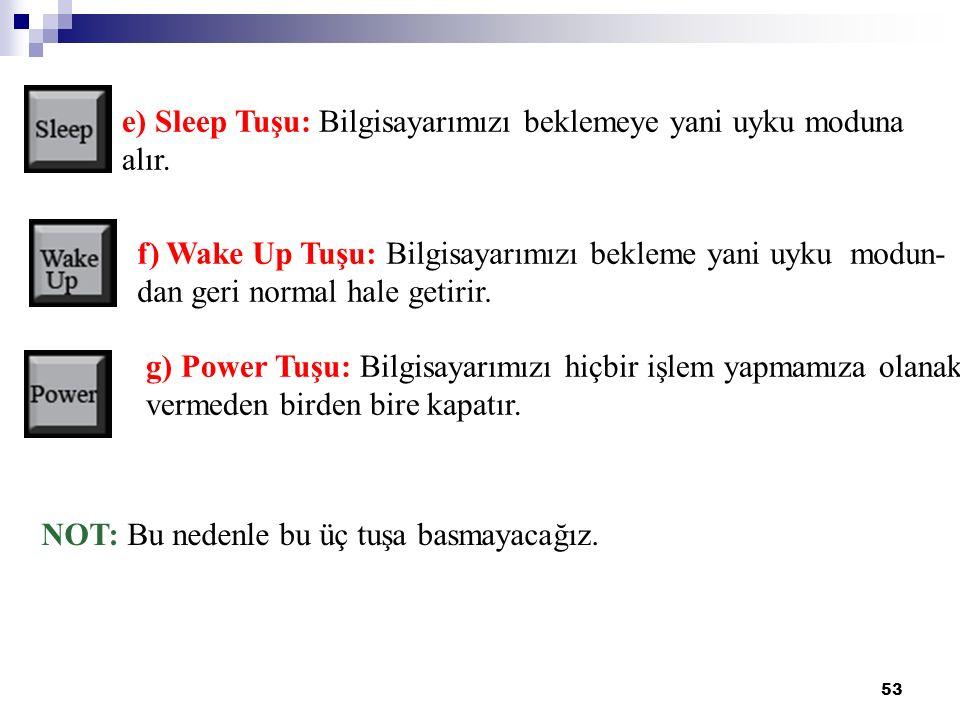 53 g) Power Tuşu: Bilgisayarımızı hiçbir işlem yapmamıza olanak vermeden birden bire kapatır. NOT: Bu nedenle bu üç tuşa basmayacağız. e) Sleep Tuşu: