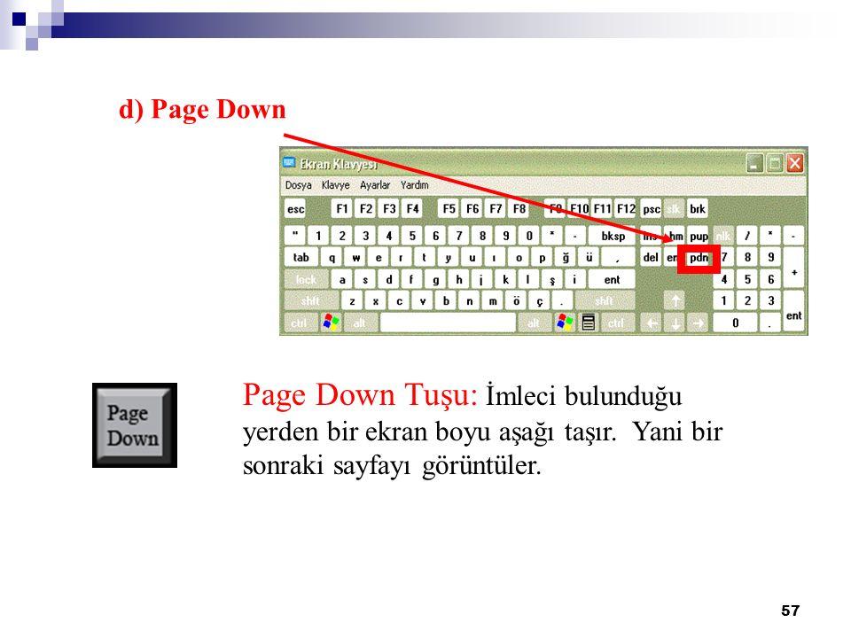 57 Page Down Tuşu: İmleci bulunduğu yerden bir ekran boyu aşağı taşır. Yani bir sonraki sayfayı görüntüler. d) Page Down