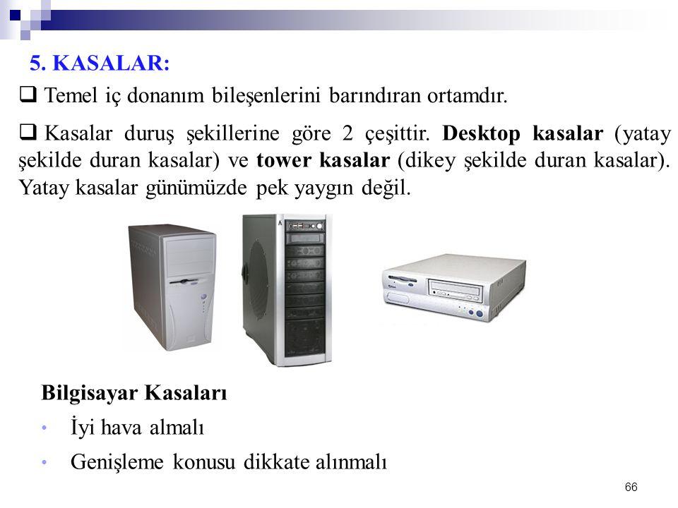 66 5. KASALAR:  Temel iç donanım bileşenlerini barındıran ortamdır.