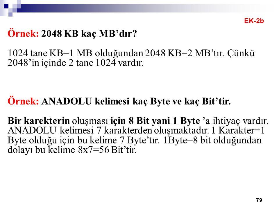 79 Örnek: 2048 KB kaç MB'dır. 1024 tane KB=1 MB olduğundan 2048 KB=2 MB'tır.