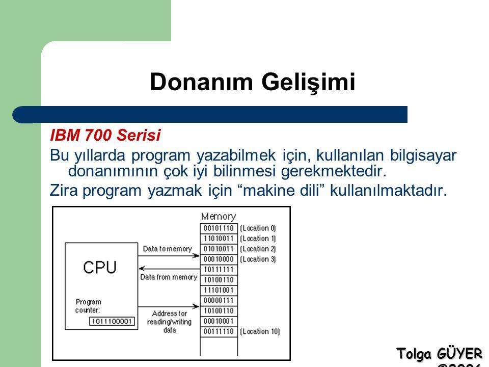 Donanım Gelişimi IBM 700 Serisi Bu yıllarda program yazabilmek için, kullanılan bilgisayar donanımının çok iyi bilinmesi gerekmektedir.
