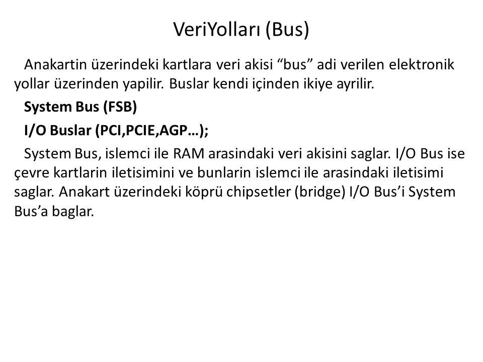 VeriYolları (Bus) Anakartin üzerindeki kartlara veri akisi bus adi verilen elektronik yollar üzerinden yapilir.