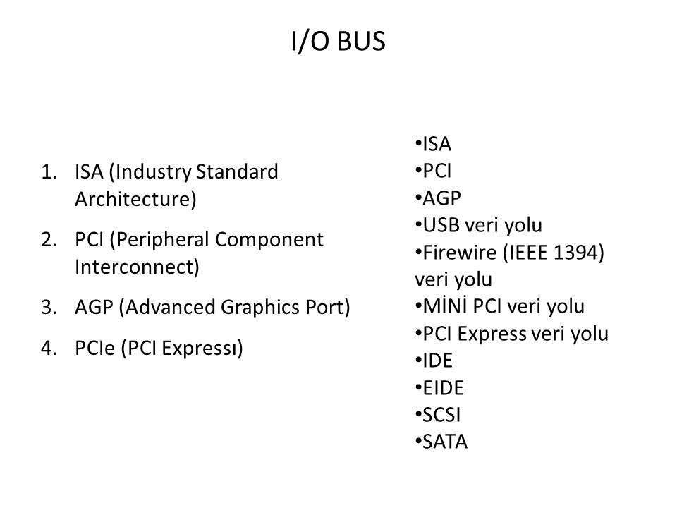 I/O BUS 1.ISA (Industry Standard Architecture) 2.PCI (Peripheral Component Interconnect) 3.AGP (Advanced Graphics Port) 4.PCIe (PCI Expressı) ISA PCI