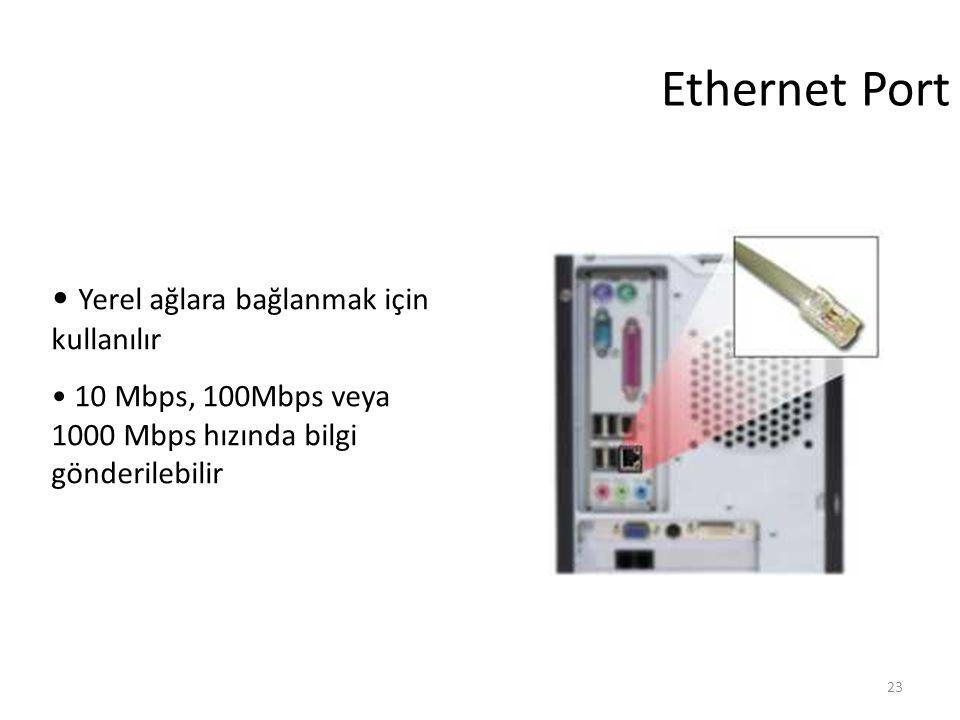 23 Ethernet Port Yerel ağlara bağlanmak için kullanılır 10 Mbps, 100Mbps veya 1000 Mbps hızında bilgi gönderilebilir