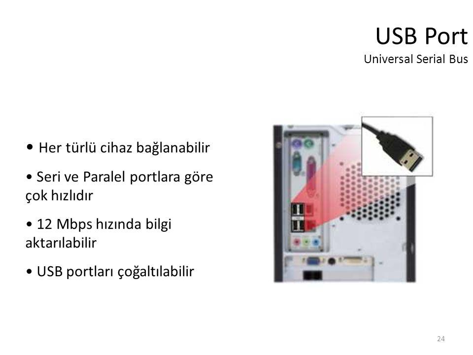 24 USB Port Universal Serial Bus Her türlü cihaz bağlanabilir Seri ve Paralel portlara göre çok hızlıdır 12 Mbps hızında bilgi aktarılabilir USB portları çoğaltılabilir