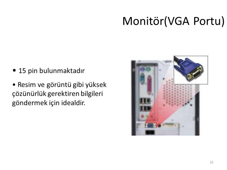 25 Monitör(VGA Portu) 15 pin bulunmaktadır Resim ve görüntü gibi yüksek çözünürlük gerektiren bilgileri göndermek için idealdir.