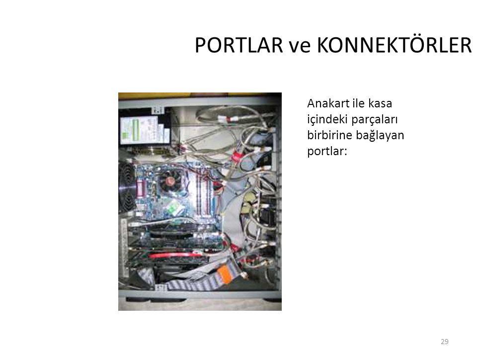 29 PORTLAR ve KONNEKTÖRLER Anakart ile kasa içindeki parçaları birbirine bağlayan portlar: