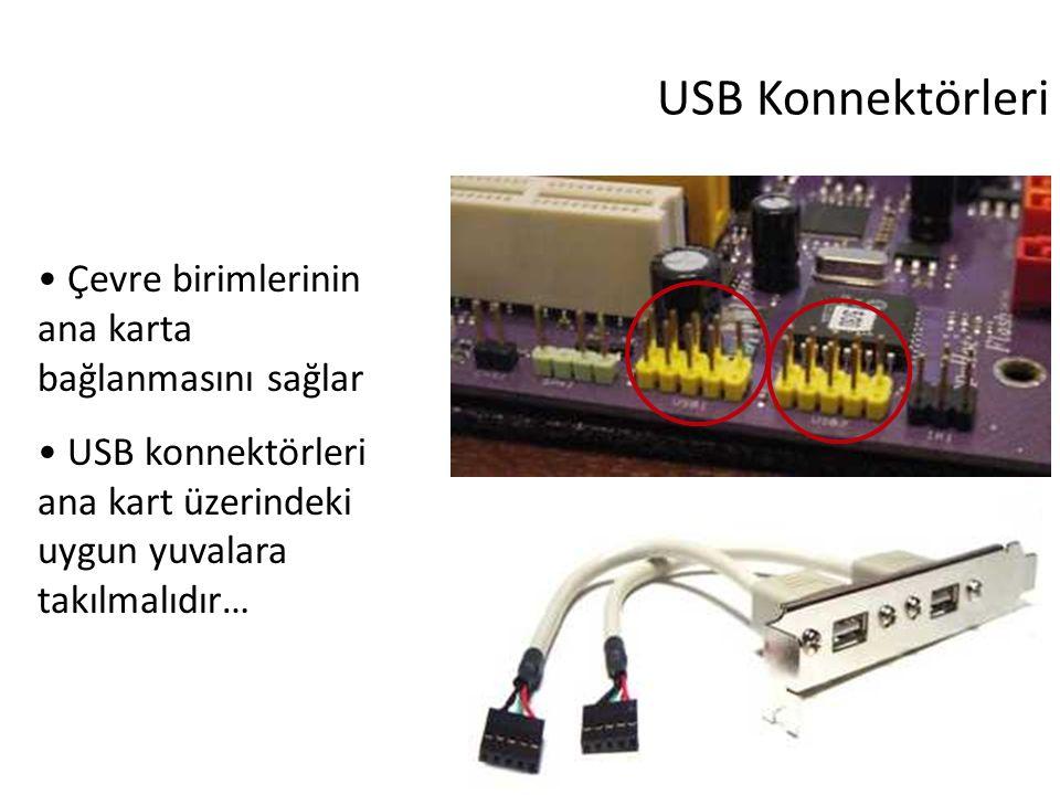 35 USB Konnektörleri Çevre birimlerinin ana karta bağlanmasını sağlar USB konnektörleri ana kart üzerindeki uygun yuvalara takılmalıdır…