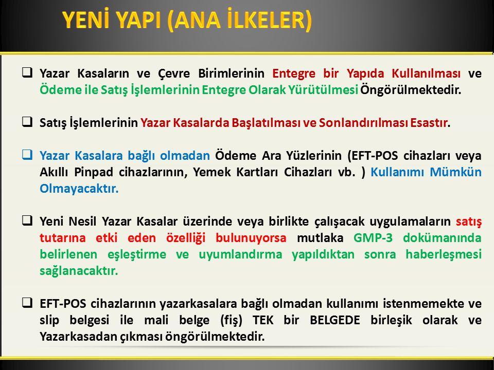  EFT-POS cihazlarına Tutar Bilgisi'nin Yazar Kasadan Gönderilmesi Esastır.