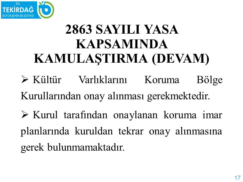 2863 SAYILI YASA KAPSAMINDA KAMULAŞTIRMA (DEVAM)  Kültür Varlıklarını Koruma Bölge Kurullarından onay alınması gerekmektedir.
