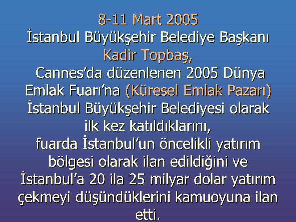 8-11 Mart 2005 İstanbul Büyükşehir Belediye Başkanı Kadir Topbaş, Cannes'da düzenlenen 2005 Dünya Emlak Fuarı'na (Küresel Emlak Pazarı) İstanbul Büyükşehir Belediyesi olarak ilk kez katıldıklarını, fuarda İstanbul'un öncelikli yatırım bölgesi olarak ilan edildiğini ve İstanbul'a 20 ila 25 milyar dolar yatırım çekmeyi düşündüklerini kamuoyuna ilan etti.