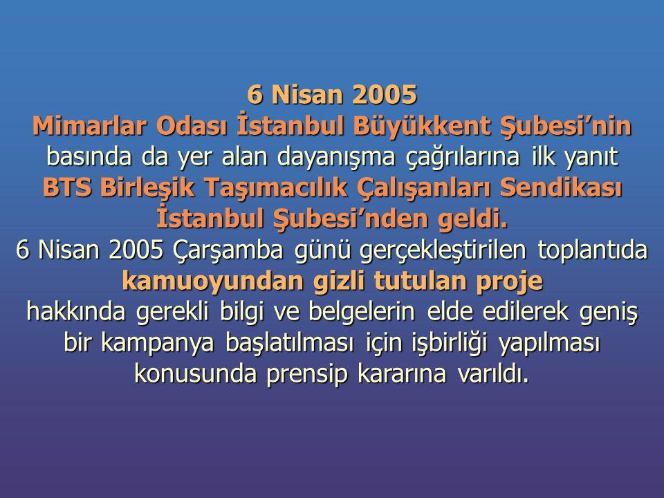 6 Nisan 2005 Mimarlar Odası İstanbul Büyükkent Şubesi'nin basında da yer alan dayanışma çağrılarına ilk yanıt BTS Birleşik Taşımacılık Çalışanları Sendikası İstanbul Şubesi'nden geldi.