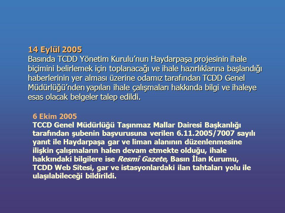 14 Eylül 2005 Basında TCDD Yönetim Kurulu'nun Haydarpaşa projesinin ihale biçimini belirlemek için toplanacağı ve ihale hazırlıklarına başlandığı haberlerinin yer alması üzerine odamız tarafından TCDD Genel Müdürlüğü'nden yapılan ihale çalışmaları hakkında bilgi ve ihaleye esas olacak belgeler talep edildi.
