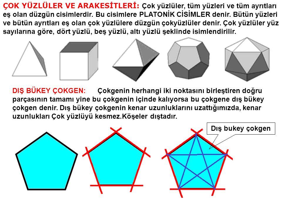8) DÜZGÜN SEKİZGEN DİK PRİZMANIN BİR DÜZLEM İLE ARAKESİTLERİ: Bir geometrik cismi (düzgün sekizgen ) bir düzlemle kestiğimizde düzlem ile cismin ortak yüzeyine ARAKESİT denir.Bir düzgün sekizgen dik prizmanın bir düzlemle oluşturduğu arakesitler.
