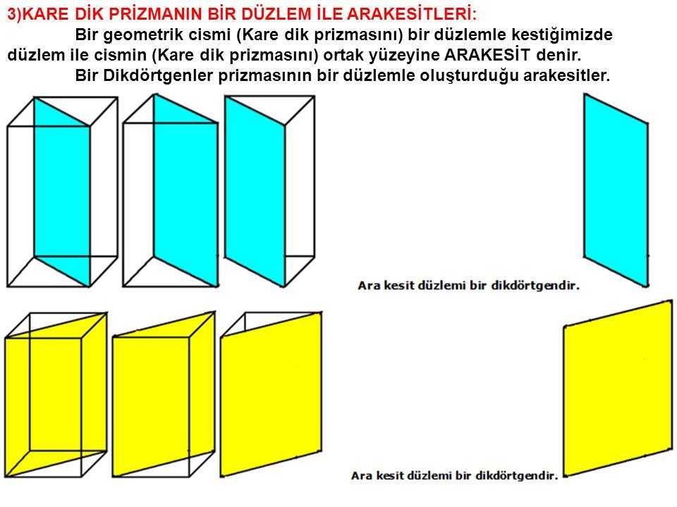 3)KARE DİK PRİZMANIN BİR DÜZLEM İLE ARAKESİTLERİ: Bir geometrik cismi (Kare dik prizmasını) bir düzlemle kestiğimizde düzlem ile cismin (Kare dik priz
