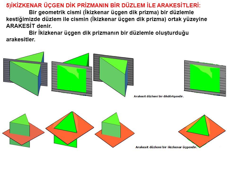 5)İKİZKENAR ÜÇGEN DİK PRİZMANIN BİR DÜZLEM İLE ARAKESİTLERİ: Bir geometrik cismi (İkizkenar üçgen dik prizma) bir düzlemle kestiğimizde düzlem ile cis