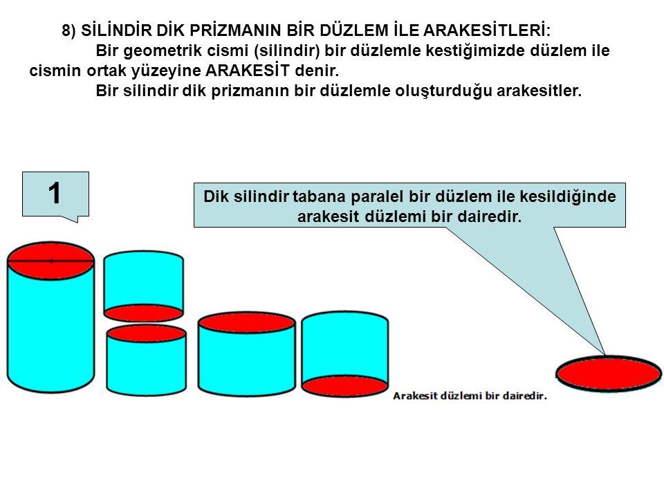 8) SİLİNDİR DİK PRİZMANIN BİR DÜZLEM İLE ARAKESİTLERİ: Bir geometrik cismi (silindir) bir düzlemle kestiğimizde düzlem ile cismin ortak yüzeyine ARAKE