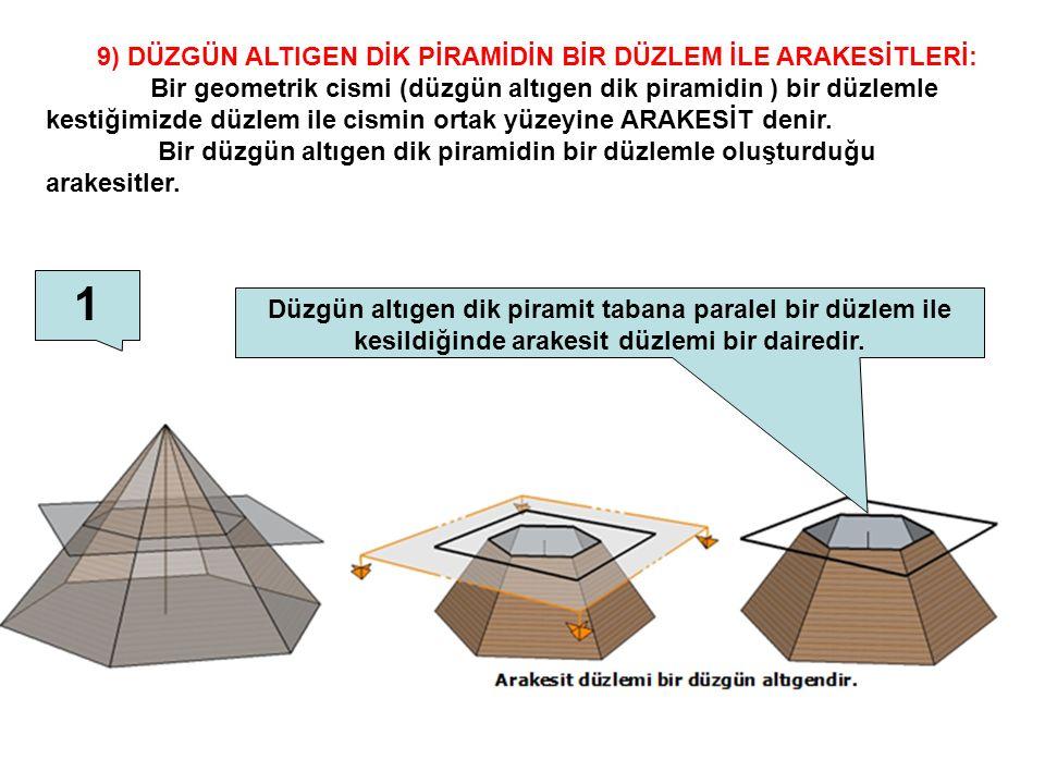 9) DÜZGÜN ALTIGEN DİK PİRAMİDİN BİR DÜZLEM İLE ARAKESİTLERİ: Bir geometrik cismi (düzgün altıgen dik piramidin ) bir düzlemle kestiğimizde düzlem ile