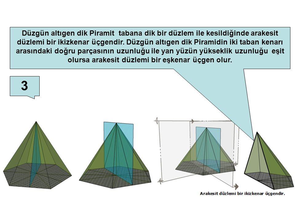 3 Düzgün altıgen dik Piramit tabana dik bir düzlem ile kesildiğinde arakesit düzlemi bir ikizkenar üçgendir. Düzgün altıgen dik Piramidin iki taban ke