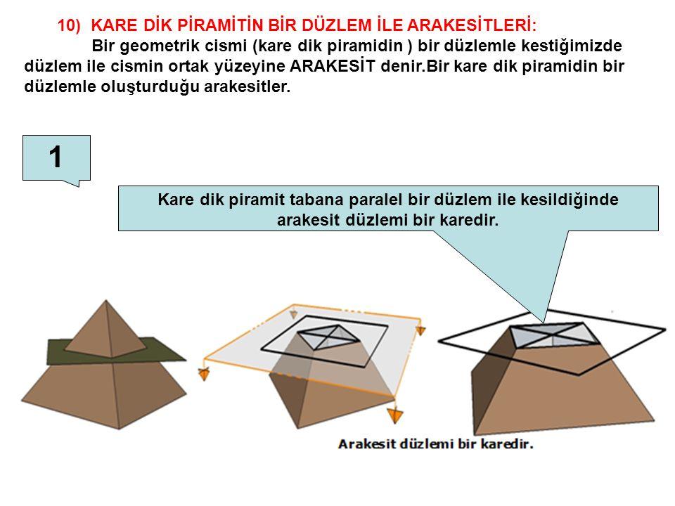 10) KARE DİK PİRAMİTİN BİR DÜZLEM İLE ARAKESİTLERİ: Bir geometrik cismi (kare dik piramidin ) bir düzlemle kestiğimizde düzlem ile cismin ortak yüzeyi
