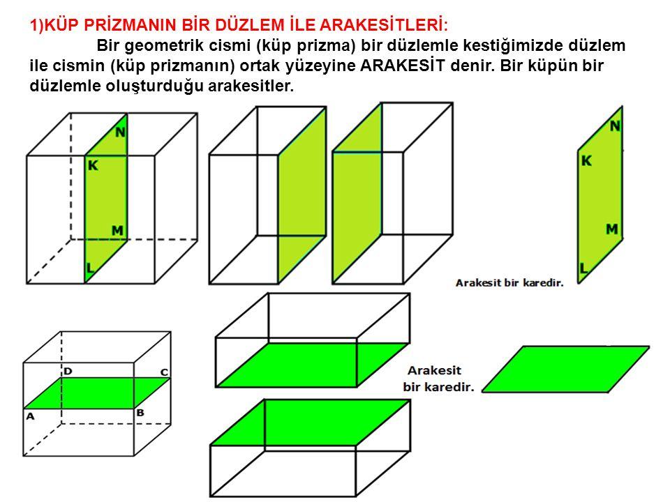 1)KÜP PRİZMANIN BİR DÜZLEM İLE ARAKESİTLERİ: Bir geometrik cismi (küp prizma) bir düzlemle kestiğimizde düzlem ile cismin (küp prizmanın) ortak yüzeyi
