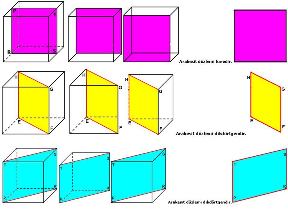 9) DÜZGÜN ALTIGEN DİK PİRAMİDİN BİR DÜZLEM İLE ARAKESİTLERİ: Bir geometrik cismi (düzgün altıgen dik piramidin ) bir düzlemle kestiğimizde düzlem ile cismin ortak yüzeyine ARAKESİT denir.