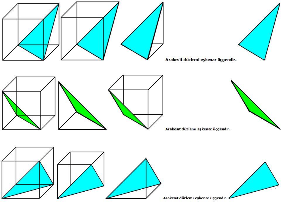 6)ÇEŞİTKENAR ÜÇGEN DİK PRİZMANIN BİR DÜZLEM İLE ARAKESİTLERİ: Bir geometrik cismi (Çeşitkenar üçgen dik prizma) bir düzlemle kestiğimizde düzlem ile cismin (Çeşitkenar üçgen dik prizma) ortak yüzeyine ARAKESİT denir.Bir Çeşitkenar üçgen dik prizmanın bir düzlemle oluşturduğu arakesitler.