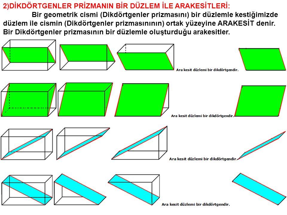 4)EŞKENAR ÜÇGEN DİK PRİZMANIN BİR DÜZLEM İLE ARAKESİTLERİ: Bir geometrik cismi (Eşkenar üçgen dik prizmasını) bir düzlemle kestiğimizde düzlem ile cismin (Eşkenar üçgen dik prizmasının) ortak yüzeyine ARAKESİT denir.