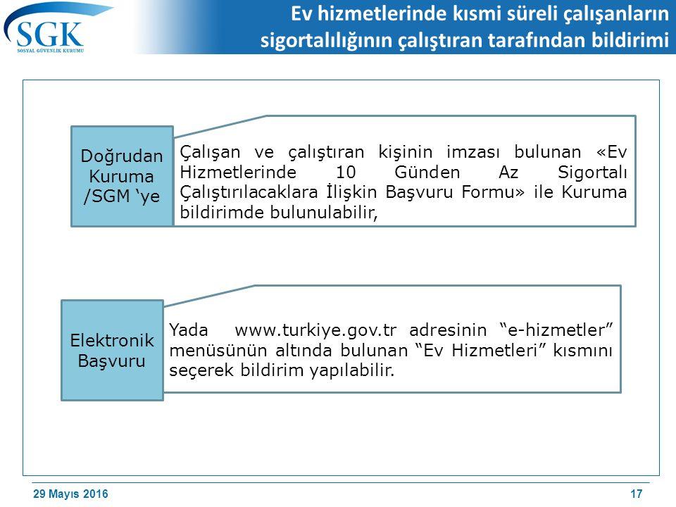 29 Mayıs 2016 Ev hizmetlerinde kısmi süreli çalışanların sigortalılığının çalıştıran tarafından bildirimi 17 Çalışan ve çalıştıran kişinin imzası bulunan «Ev Hizmetlerinde 10 Günden Az Sigortalı Çalıştırılacaklara İlişkin Başvuru Formu» ile Kuruma bildirimde bulunulabilir, Yada www.turkiye.gov.tr adresinin e-hizmetler menüsünün altında bulunan Ev Hizmetleri kısmını seçerek bildirim yapılabilir.