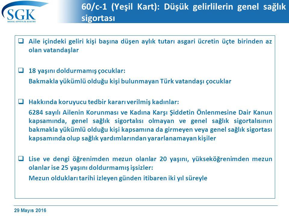29 Mayıs 2016 60/c-1 (Yeşil Kart): Düşük gelirlilerin genel sağlık sigortası  Aile içindeki geliri kişi başına düşen aylık tutarı asgari ücretin üçte birinden az olan vatandaşlar  18 yaşını doldurmamış çocuklar: Bakmakla yükümlü olduğu kişi bulunmayan Türk vatandaşı çocuklar  Hakkında koruyucu tedbir kararı verilmiş kadınlar: 6284 sayılı Ailenin Korunması ve Kadına Karşı Şiddetin Önlenmesine Dair Kanun kapsamında, genel sağlık sigortalısı olmayan ve genel sağlık sigortalısının bakmakla yükümlü olduğu kişi kapsamına da girmeyen veya genel sağlık sigortası kapsamında olup sağlık yardımlarından yararlanamayan kişiler  Lise ve dengi öğrenimden mezun olanlar 20 yaşını, yükseköğrenimden mezun olanlar ise 25 yaşını doldurmamış işsizler: Mezun oldukları tarihi izleyen günden itibaren iki yıl süreyle