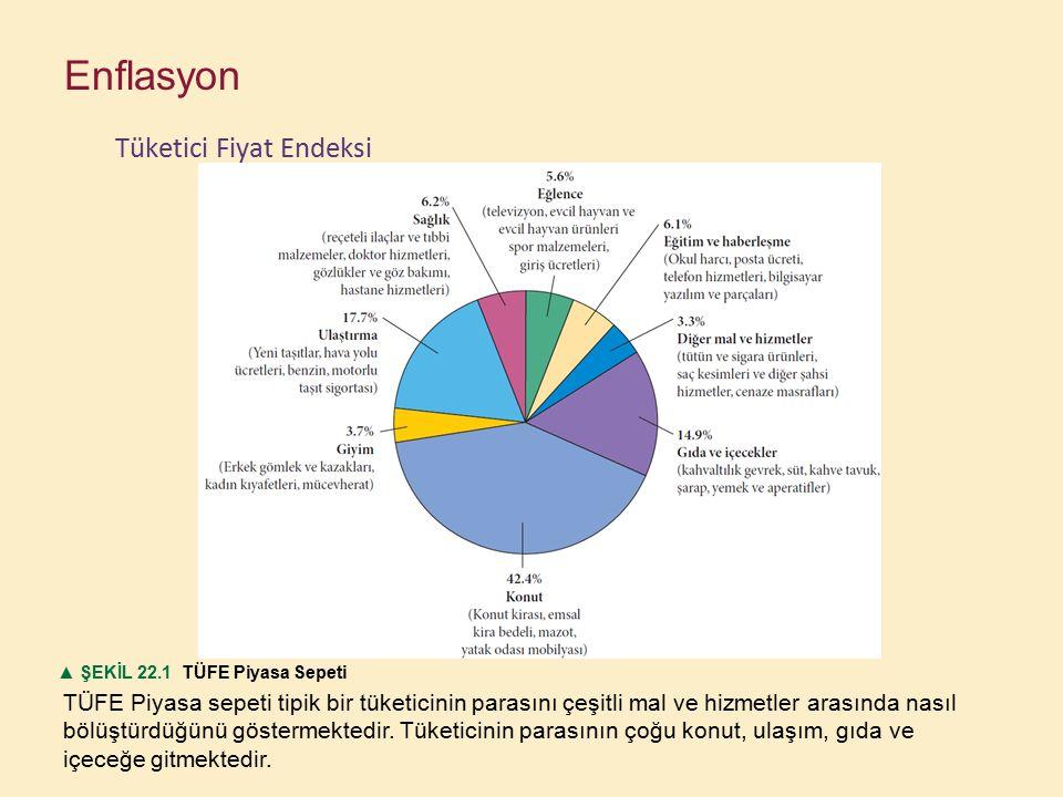 TÜFE Piyasa sepeti tipik bir tüketicinin parasını çeşitli mal ve hizmetler arasında nasıl bölüştürdüğünü göstermektedir. Tüketicinin parasının çoğu ko