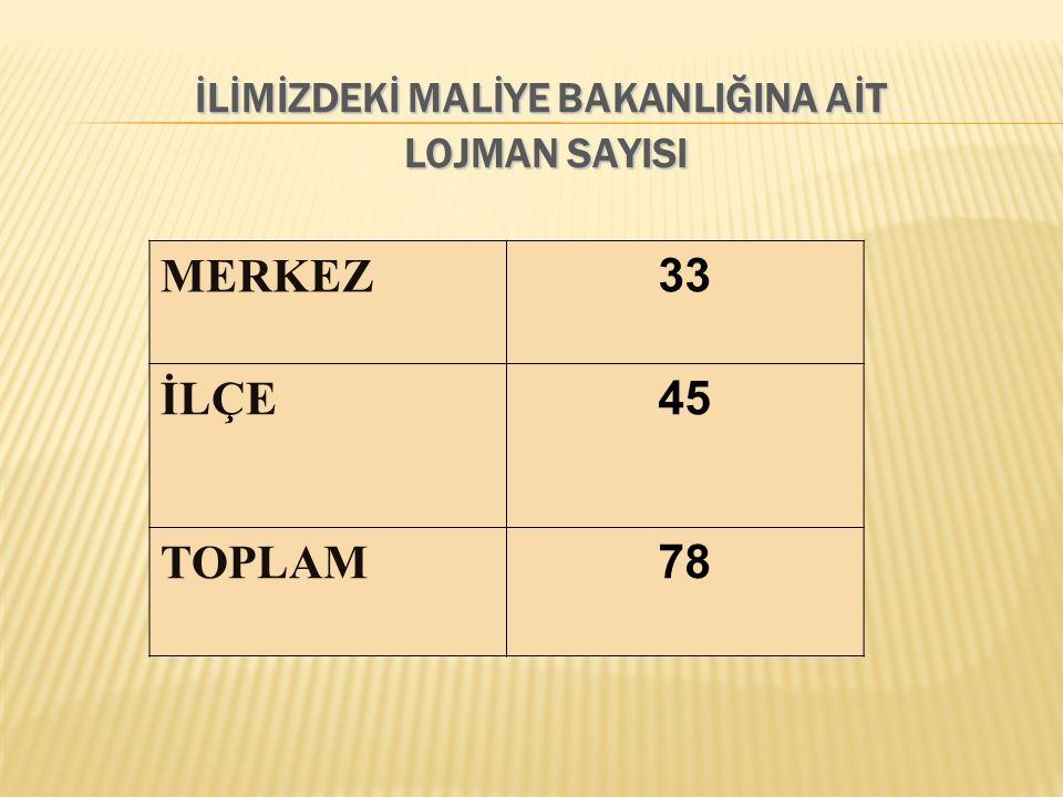 MERKEZ 33 İLÇE 45 TOPLAM 78
