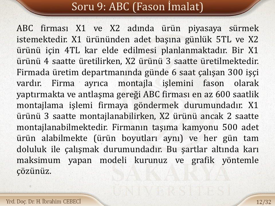 Yrd. Doç. Dr. H. İbrahim CEBECİ Soru 9: ABC (Fason İmalat) ABC firması X1 ve X2 adında ürün piyasaya sürmek istemektedir. X1 ürününden adet başına gün
