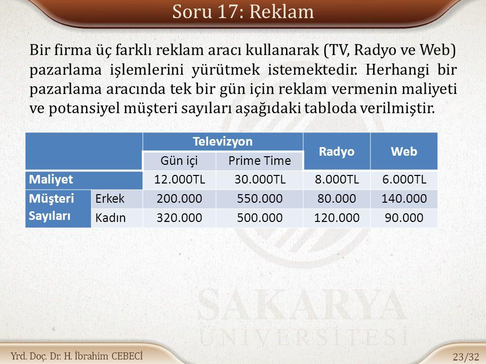 Yrd. Doç. Dr. H. İbrahim CEBECİ Soru 17: Reklam Bir firma üç farklı reklam aracı kullanarak (TV, Radyo ve Web) pazarlama işlemlerini yürütmek istemekt