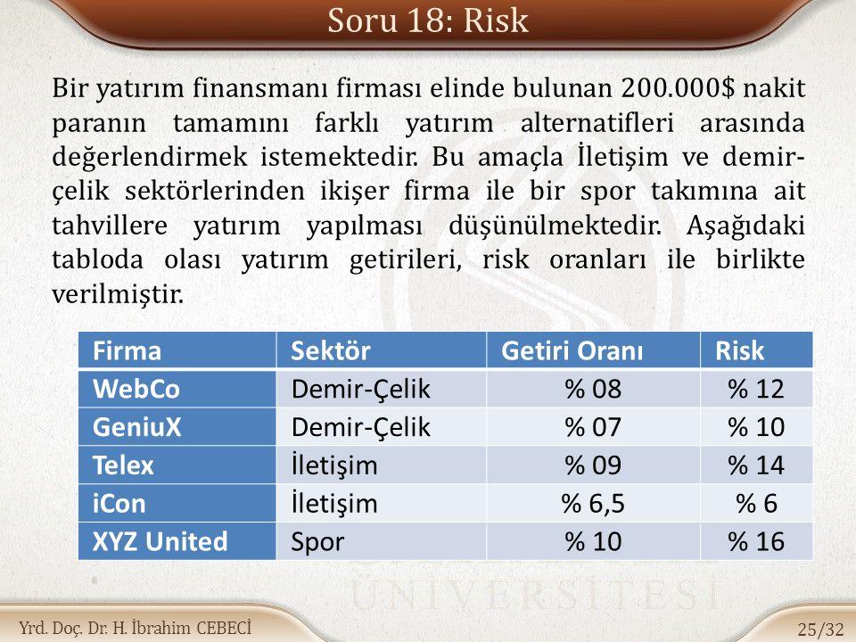 Yrd. Doç. Dr. H. İbrahim CEBECİ Soru 18: Risk Bir yatırım finansmanı firması elinde bulunan 200.000$ nakit paranın tamamını farklı yatırım alternatifl