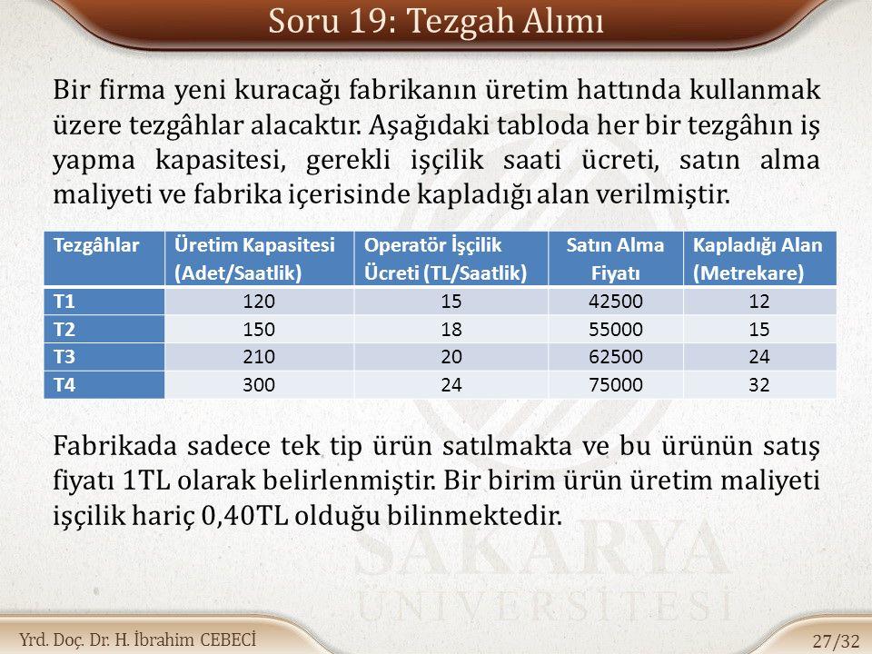 Yrd. Doç. Dr. H. İbrahim CEBECİ Soru 19: Tezgah Alımı Bir firma yeni kuracağı fabrikanın üretim hattında kullanmak üzere tezgâhlar alacaktır. Aşağıdak
