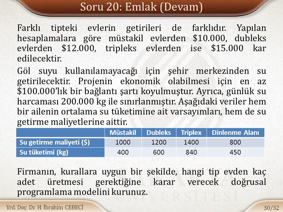 Yrd. Doç. Dr. H. İbrahim CEBECİ Soru 20: Emlak (Devam) Farklı tipteki evlerin getirileri de farklıdır. Yapılan hesaplamalara göre müstakil evlerden $1