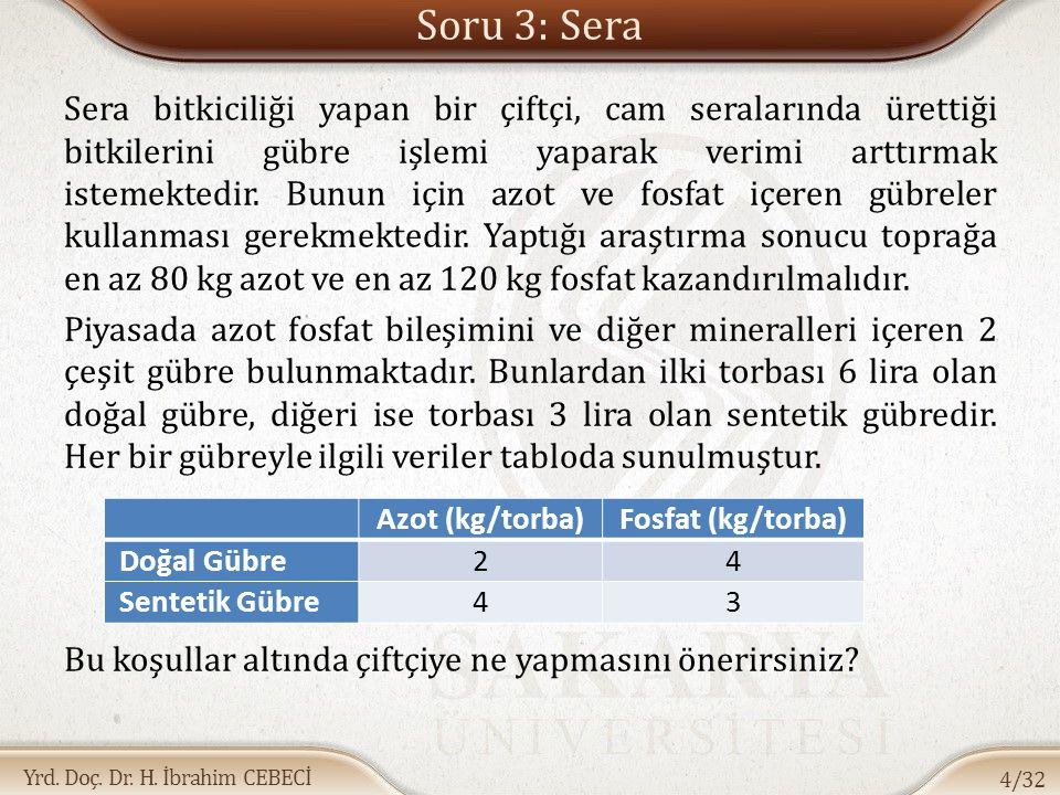 Yrd. Doç. Dr. H. İbrahim CEBECİ Soru 3: Sera Sera bitkiciliği yapan bir çiftçi, cam seralarında ürettiği bitkilerini gübre işlemi yaparak verimi arttı