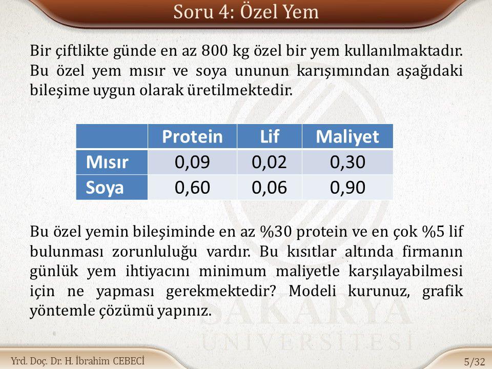 Yrd. Doç. Dr. H. İbrahim CEBECİ Soru 4: Özel Yem Bir çiftlikte günde en az 800 kg özel bir yem kullanılmaktadır. Bu özel yem mısır ve soya ununun karı