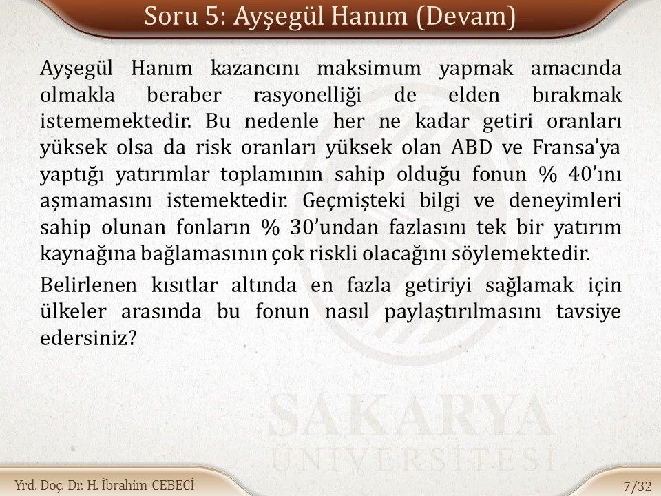Yrd. Doç. Dr. H. İbrahim CEBECİ Soru 5: Ayşegül Hanım (Devam) Ayşegül Hanım kazancını maksimum yapmak amacında olmakla beraber rasyonelliği de elden b