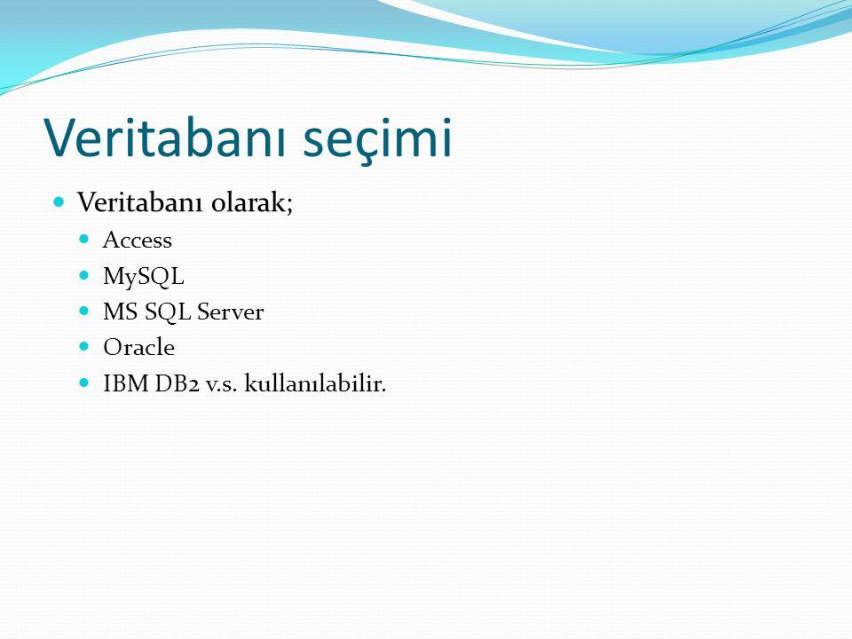 Veritabanı seçimi Veritabanı olarak; Access MySQL MS SQL Server Oracle IBM DB2 v.s. kullanılabilir.