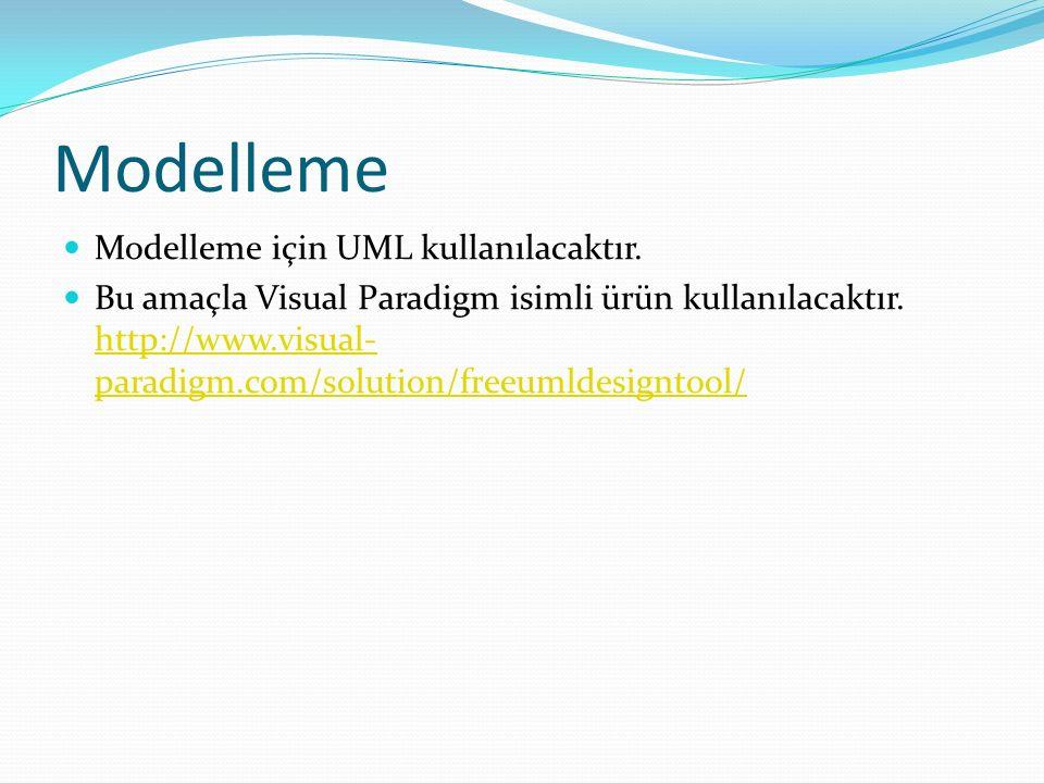 Modelleme Modelleme için UML kullanılacaktır.