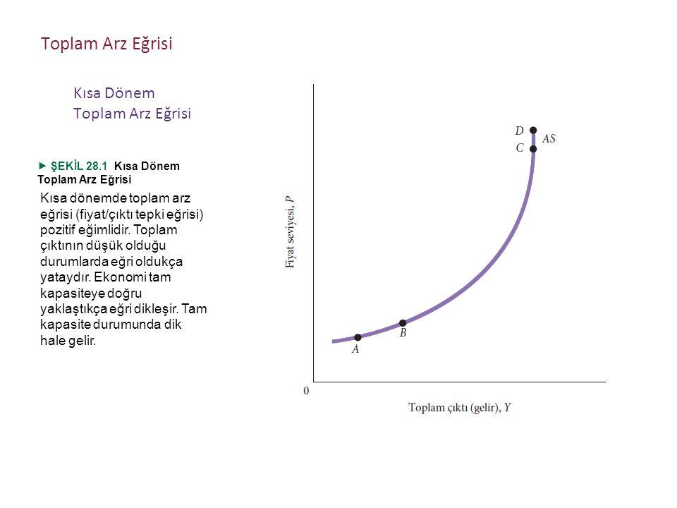 Kısa dönemde toplam arz eğrisi (fiyat/çıktı tepki eğrisi) pozitif eğimlidir.