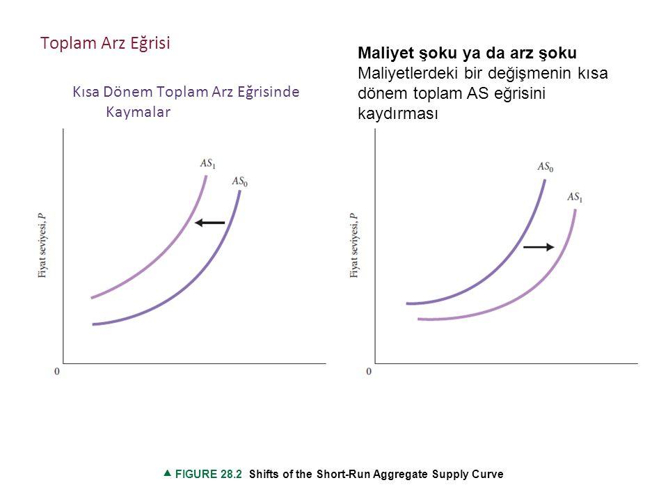 Maliyet şoku ya da arz şoku Maliyetlerdeki bir değişmenin kısa dönem toplam AS eğrisini kaydırması  FIGURE 28.2 Shifts of the Short-Run Aggregate Supply Curve Toplam Arz Eğrisi Kısa Dönem Toplam Arz Eğrisinde Kaymalar