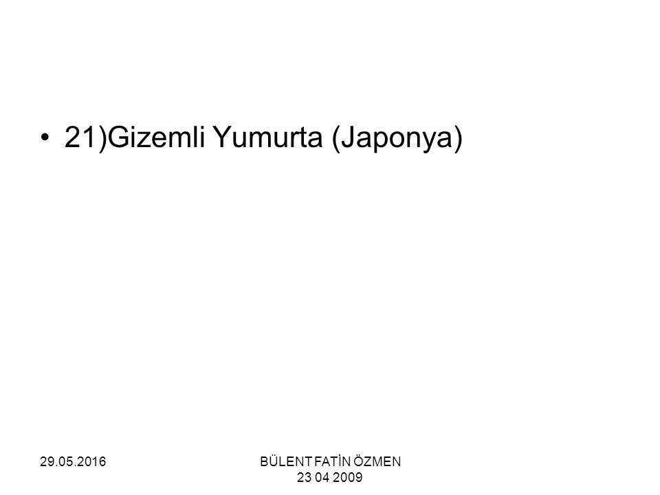 29.05.2016BÜLENT FATİN ÖZMEN 23 04 2009 21)Gizemli Yumurta (Japonya)