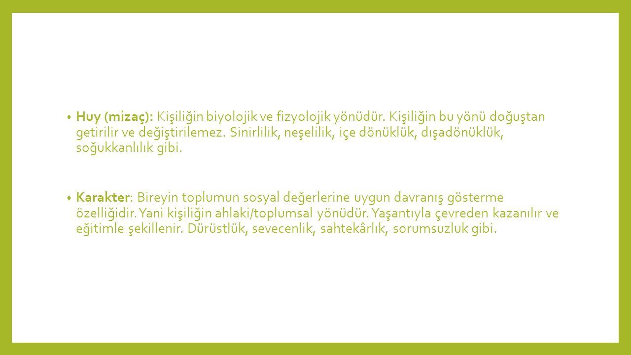 Huy (mizaç): Kişiliğin biyolojik ve fizyolojik yönüdür.
