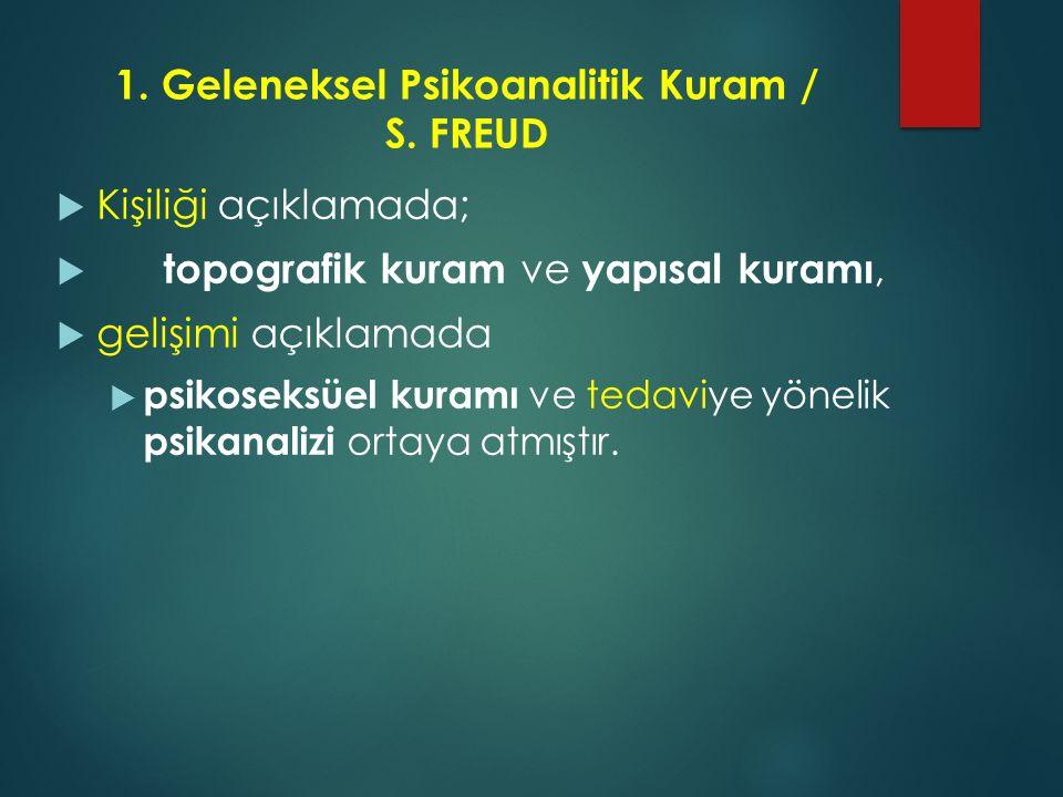 1.Geleneksel Psikoanalitik Kuram / S.