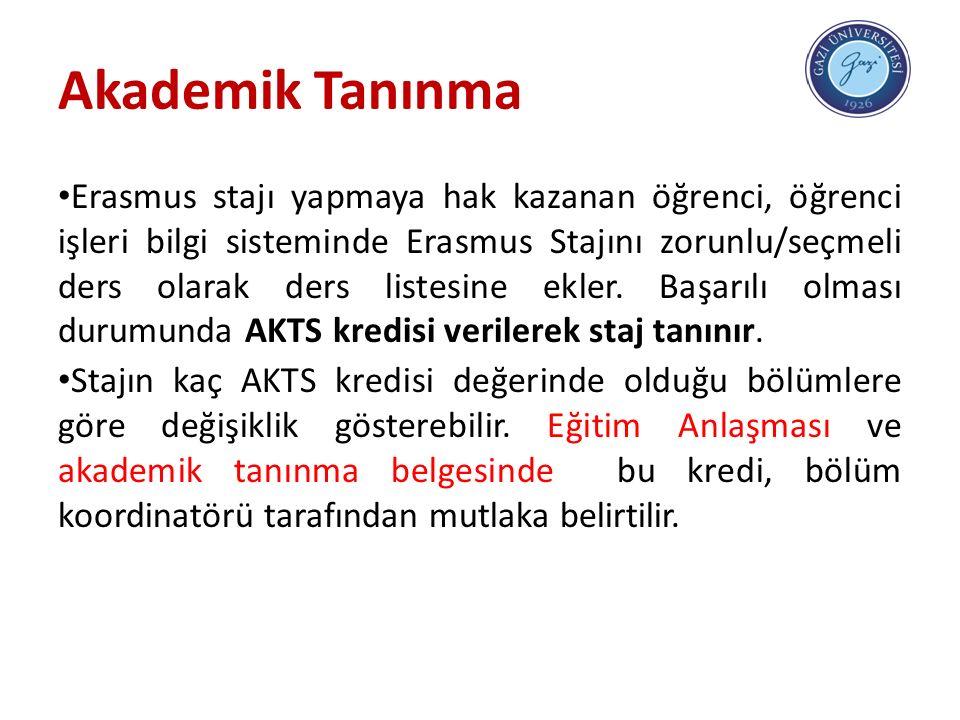 Akademik Tanınma Erasmus stajı yapmaya hak kazanan öğrenci, öğrenci işleri bilgi sisteminde Erasmus Stajını zorunlu/seçmeli ders olarak ders listesine ekler.