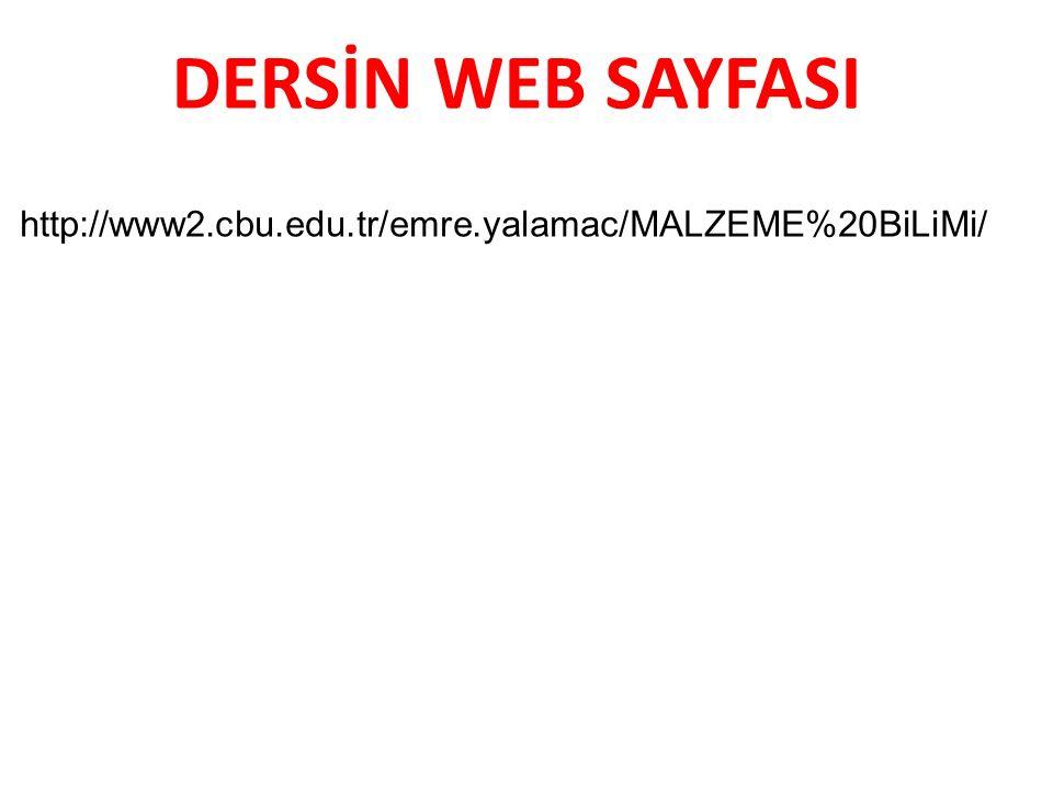 DERSİN WEB SAYFASI http://www2.cbu.edu.tr/emre.yalamac/MALZEME%20BiLiMi/